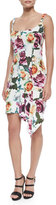 Nicole Miller Sleeveless Asymmetric Floral Cocktail Dress, White/Multicolor