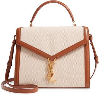 Saint Laurent Medium Cassandre Canvas Top Handle Bag