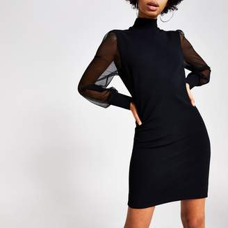 River Island Womens Black long mesh sleeve high neck mini dress
