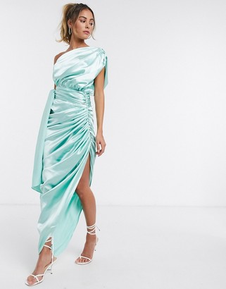 Yaura one shoulder draped satin maxi dress in neo mint