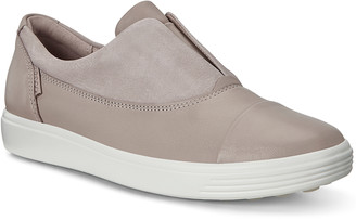 Ecco Women's Sneakers RoseGrey - Gray & Rose Gray Droid Diffuse Soft 7 Leather Slip-On Sneaker - Women
