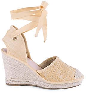 Fendi Women's FF Logo Ankle-Wrap Espadrille Wedge Sandals