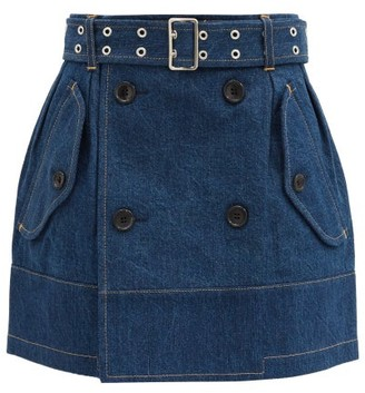 Junya Watanabe Double-breasted Belted Denim Skirt - Indigo