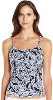 Caribbean Joe Women's Bahama Palm Triple Tier Ruffle Soft Cup Tankini