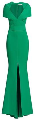 Safiyaa Heavy Crepe Cape Sleeve Gown