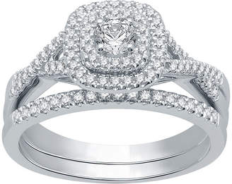 EVER STAR Ever Star Womens 1/2 CT. T.W. Lab Grown White Diamond 10K White Gold Engagement Ring