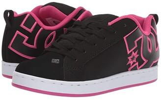 DC Court Graffik W (Black/Pink Stencil) Women's Skate Shoes