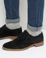 Asos Brogue Shoes In Black Suede With Natural Sole
