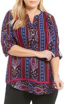 Investments Plus Y-Neck 3/4 Sleeve Roll Tab Blouse