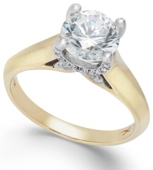 X3 Certified Diamond (1 ct. t.w.) Solitaire Engagement Ring in 18k Yellow and White Gold, Created for Macy's