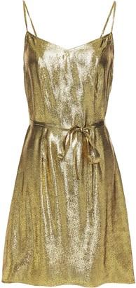 HVN Lily Silk-lame Mini Slip Dress