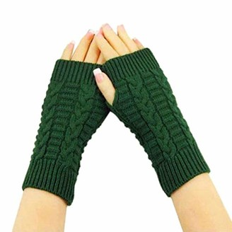 TIFIY Women Arm Gloves Warm Long Fingerless Gloves Christmas Clearance Girl's Wrist Arm Hand Warmer Cable Knit Mittens Fashion Solid Mittens Half Finger Arm Gloves Christmas for Ladies Girls