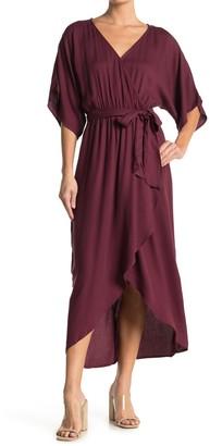 Love Stitch Wrap Waist Tie Midi Dress
