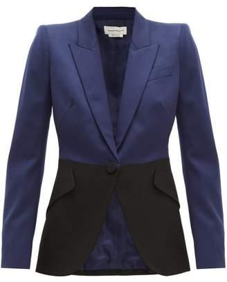 Alexander McQueen Colour-block Single-breasted Wool Blazer - Womens - Navy Multi