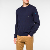 Paul Smith Men's Navy Embroidered-Dot Merino-Wool Sweater