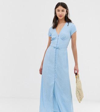 Vero Moda Tall polka dot maxi tea dress-Blue