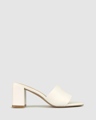 betts Women's White Heeled Sandals - Lonnie Block Heel Mules - Size One Size, 7 at The Iconic