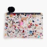 J.Crew Large vinyl pouch with glitter