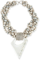 Alexis Bittar Pearly Multi-Strand Necklace with Studded Pendant