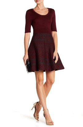 Nina Leonard Scoop Neck Fit & Flare Knit Dress