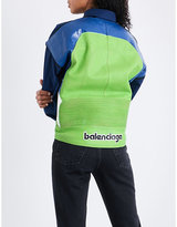 Balenciaga Leather-panel cotton-blend shirt