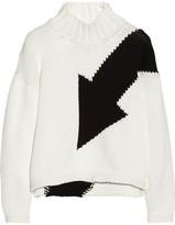 McQ by Alexander McQueen Arrow-intarsia cotton-blend turtleneck sweater