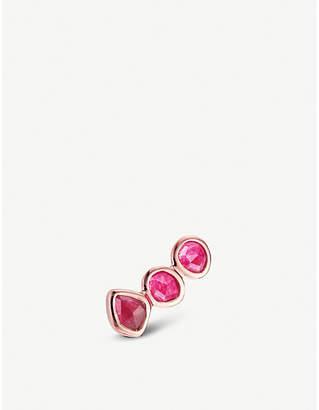 Monica Vinader Siren 18ct rose gold-vermeil and pink quartz climber single earring
