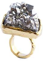 Bex Rox 24ct Yellow Gold Plated Dyed Drusy Grey Quartz Mara Ring - Size L