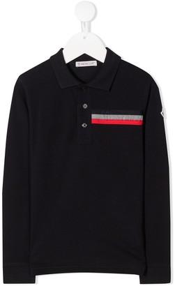 Moncler Enfant Long Sleeve Embossed Logo Polo Shirt