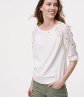 LOFT Floral Lace Shoulder Sweater