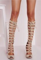 Missguided Heeled Knee High Gladiator Sandal Cream