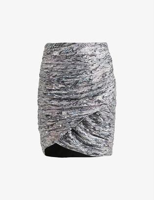 AllSaints Rosina patterned sequin mini skirt
