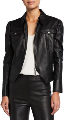 JONATHAN SIMKHAI STANDARD Puff-Sleeve Faux-Leather Moto Jacket