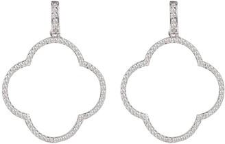 Large Open Clover Drop Earrings White Cz Silver