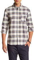 Topman Long Sleeve Stone Tartan Check Regular Fit Shirt