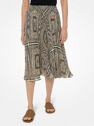 MICHAEL Michael Kors MK Printed Georgette Pleated Skirt - Bone - Michael Kors