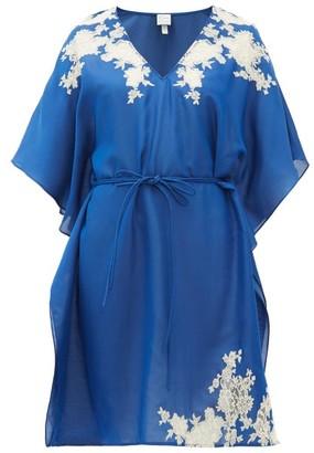 Carine Gilson Lace-trimmed Silk-satin Kaftan - Blue