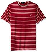 Fred Perry Pique Stripe Crew Neck Cotton Red T-Shirt