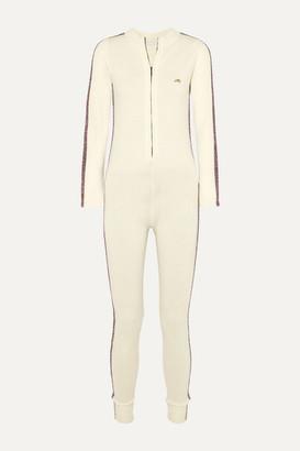Bella Freud Futuristic Metallic Striped Merino Wool-blend Jumpsuit - White