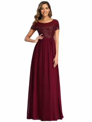Ever Pretty Ever-Pretty Women's Round Neck A Line Empire Waist Ball Gowns Floor Length Chiffon Bridesmaid Dresses with Sequin Burgundy 16UK