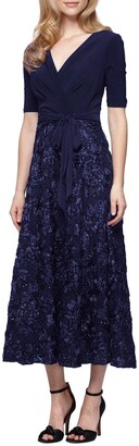 Alex Evenings Mixed Media Tea Length Dress