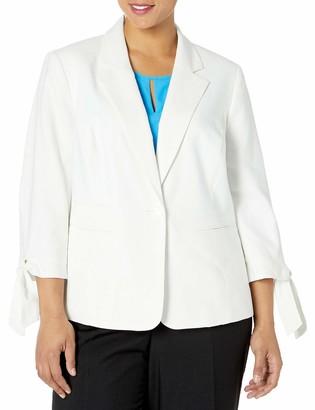 Nine West Women's Plus Size 1 Button Notch Collar Jacket W/Tie Sleeves
