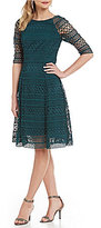 Kay Unger Lace Fit-and-Flare Party Dress