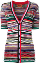 Missoni V-neck striped shortsleeved cardigan - women - Nylon/Polyester/Viscose - 40