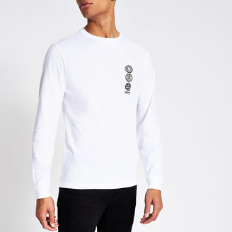 River Island White 'Unknwn' long sleeve slim fit T-shirt
