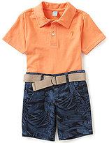 Class Club Little Boys 2T-7 Solid Knit Polo Shirt & Tropical Print Shorts Set