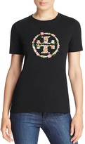 Tory Burch Kimble Embellished Floral Logo Tee