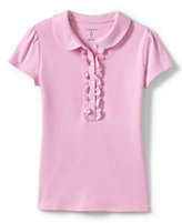 Lands' End Little Girls Short Sleeve Ruffle Placket Polo-White