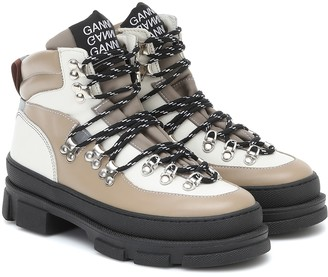 Ganni Hiking leather ankle boots