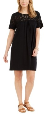 Style&Co. Style & Co Eyelet Flutter-Sleeve T-Shirt Dress, Created for Macy's